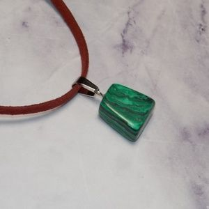 """Other - Natural Tumbled Stone Necklace Green and Black 28"""""""